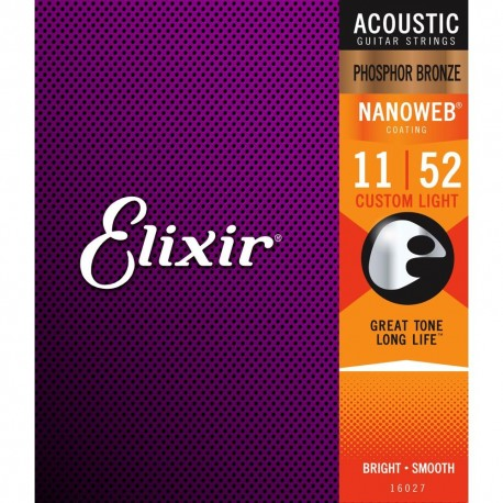 Elixir Acoustic Nanoweb Phosphor Bronze Custom Light